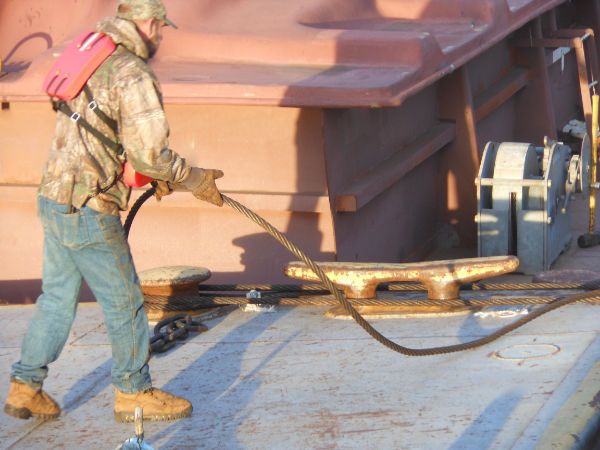 Worker on barge